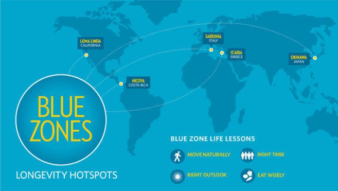 map of location of blue zones in the world ikigai